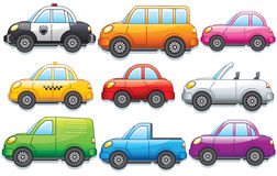 Funny Cartoon Cars and Trucks. Funny Cartoon Toy Cars. Different Car, Bus, Van and Trucks. Vector Clip Art Royalty Free Stock Images