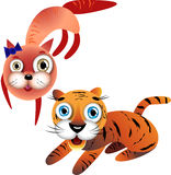 Funny cartoon cat and the baby tiger Stock Images