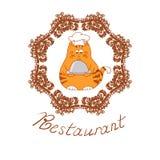 Funny cartoon cat chef. Royalty Free Stock Photography