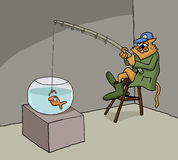 Funny cartoon about cat fishing at home Royalty Free Stock Photos