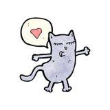 funny cartoon cat with love heart Royalty Free Stock Image