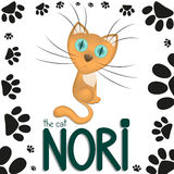 Funny cartoon cat Nori, cat paw footprints, hand drawn text Stock Image