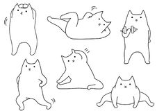 Funny cartoon cat stretching. Line art set Royalty Free Stock Photo