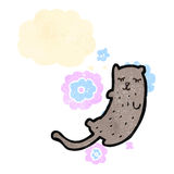 Funny cartoon cat with thought bubble Royalty Free Stock Images
