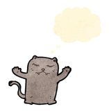 Funny cartoon cat with thought bubble Stock Photo