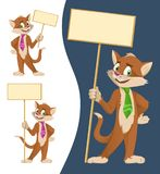 Funny cartoon cat in a tie holding blank banners. Stock Image