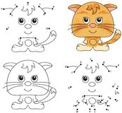 Funny cartoon cat. Vector illustration. Coloring and dot to dot Stock Photo
