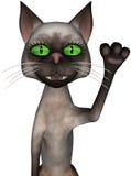 Funny Cartoon Cat Waving Isolated Stock Image