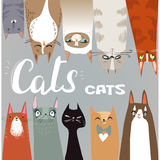 Funny cartoon cats collection Royalty Free Stock Photo