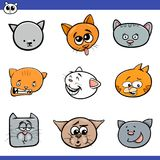 Funny cartoon cats heads collection. Cartoon Vector Illustration of Cute Cats or Kittens Heads Set Stock Photo