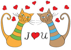 Funny cartoon cats and hearts Stock Photo