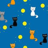 Funny cartoon cats at night. vector illustration