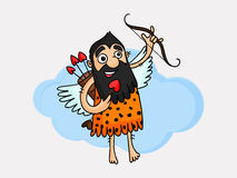Funny cartoon of a caveman with bow and arrow. Stock Photos