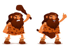 Funny cartoon caveman with a club Stock Image