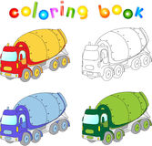 Funny cartoon cement mixer. Coloring book for kids Royalty Free Stock Images