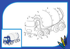 Funny cartoon cement mixer. Connect dots and get image. Educatio Royalty Free Stock Image