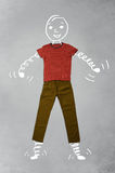 Funny cartoon character in casual clothes Royalty Free Stock Image