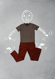 Funny cartoon character in casual clothes Stock Image