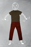 Funny cartoon character in casual clothes. Funny cartoon character in casual urban clothes Royalty Free Stock Photography