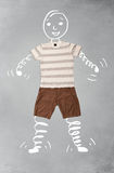 Funny cartoon character in casual clothes Royalty Free Stock Photo