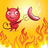 Funny cartoon character devil barbecue. Roasting sausage Royalty Free Stock Photos