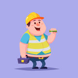 Funny Cartoon Character Fat man repairman builder worker with sandwich and toolbox Royalty Free Stock Photo