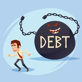 Funny Cartoon Character. frightened manager business man Office Worker runs away from Big Debt Weight. colorful vector Illustratio. N eps10 Stock Photography