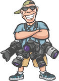 Funny cartoon character - happy photographer with lots of camera Stock Image