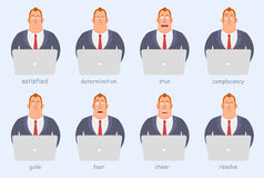 Funny cartoon character. Office workers of different emotions, anger, joy, seriousness, fear, fun. Royalty Free Stock Photos