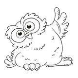 Funny cartoon character owl. Surprised owl with big eyes. Vector coloring book. Contour on a white background. Funny cartoon character owl. Surprised owl with Royalty Free Stock Photos