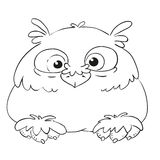 Funny cartoon character owl. Vector coloring book. Contour on a white background. Funny cartoon character owl. Vector isolated coloring book. Contour on a white Royalty Free Stock Photo