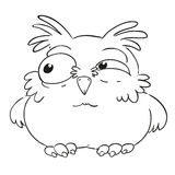 Funny cartoon character owl. Vector coloring book. Contour on a white background. Funny cartoon character owl. Ruffled owl. Vector isolated coloring book Stock Photography