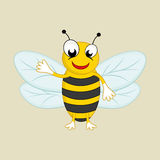 Funny cartoon character of a smiling bee. Stock Photography