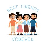 Best friends forever. Four asian young women and young men friends hugging. stock illustration