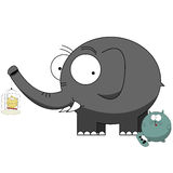 Funny cartoon characters. Cartoon characters, elephant protecting small bird from a cat Stock Photos