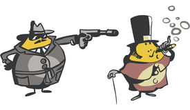 Funny Cartoon Characters. Funny gangster pointing a gun at well dressed man Stock Photos