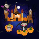 Funny cartoon characters bat, death in a raincoat, pumpkin. On a castle background Stock Illustration