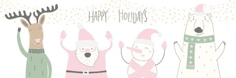 Funny cartoon characters Christmas card royalty free illustration