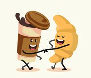 Funny cartoon characters coffee and croissant. Royalty Free Stock Image