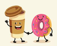 Funny cartoon characters coffee and donut. Vector flat design Stock Images