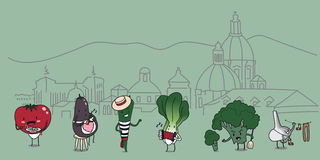Funny cartoon characters set of traditional Italian vegetables with sketched Florence on background. Stock Image