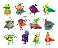 Free Funny Cartoon Characters Vegetables And Fruits In Superhero Costumes Royalty Free Stock Photography - 138625507