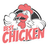 Funny cartoon chicken in a badge Stock Photo