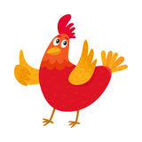 Funny cartoon chicken, hen pointing to something with wing Stock Photos