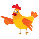 Funny cartoon chicken, hen pointing to something with wing. Funny cartoon red and orange chicken, hen pointing to something with wing, cartoon vector Stock Images