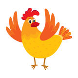 Funny cartoon chicken, hen surprised or jumping from happiness Royalty Free Stock Images