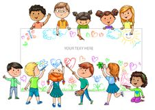 Funny cartoon children of different nationalities hold empty ban Royalty Free Stock Photo
