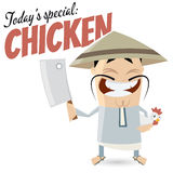 Funny cartoon Chinese with chicken Royalty Free Stock Photography