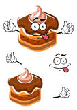 Funny cartoon chocolate cupcake character Stock Photo