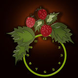 Funny cartoon clock for kids with strawberry blank background. Funny cartoon clock for kids with strawberry blank on black background Royalty Free Stock Photo